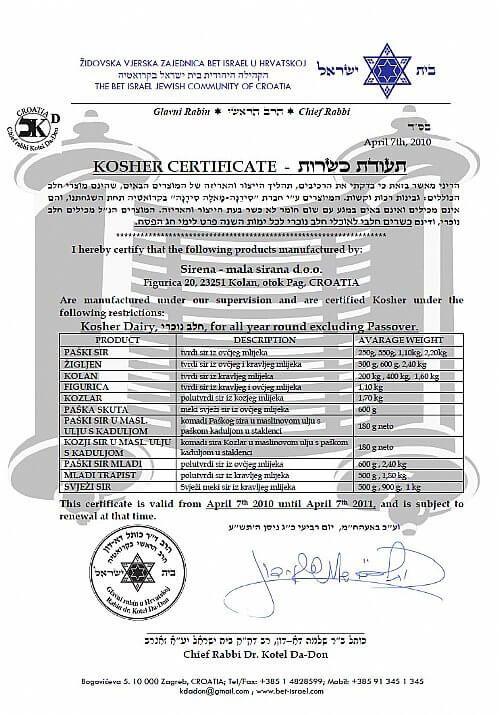 Certification Kasher